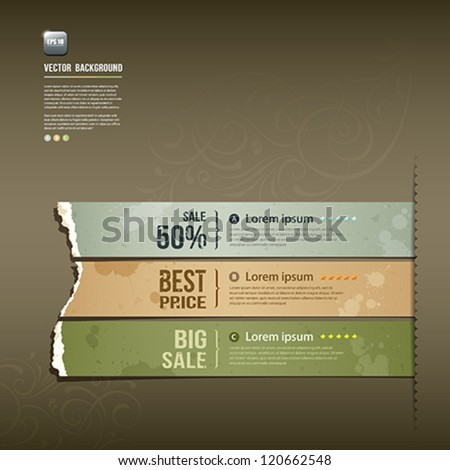 Vintage Label Ripped paper design horizontal background, vector illustration - stock vector