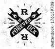 """vintage label """" rock forever"""" - stock vector"""