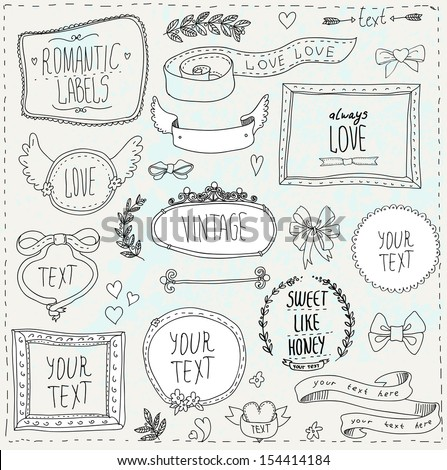 Vintage label set, Hand-drawn doodles and design elements, Ornate frames, banners and ribbons - stock vector