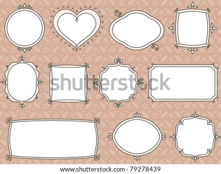 Vintage label set in beige - stock vector