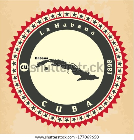 Vintage label-sticker cards of Cuba. Vector illustration - stock vector