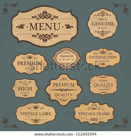 Vintage Label Style Frame Collection / Floral Page Elements - stock vector