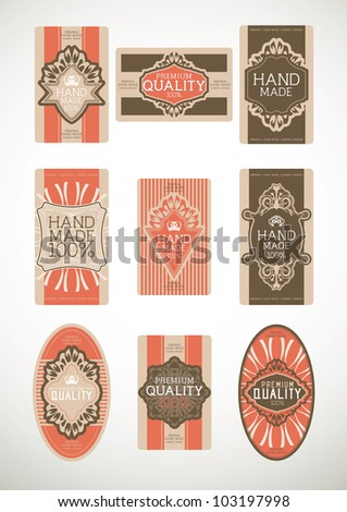 Vintage label Style with Nine Design Element , collection 28
