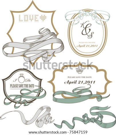 vintage label tag collections set for any use and wedding invitation card - stock vector