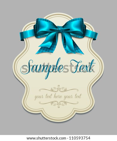 Vintage label with a blue bow - stock vector