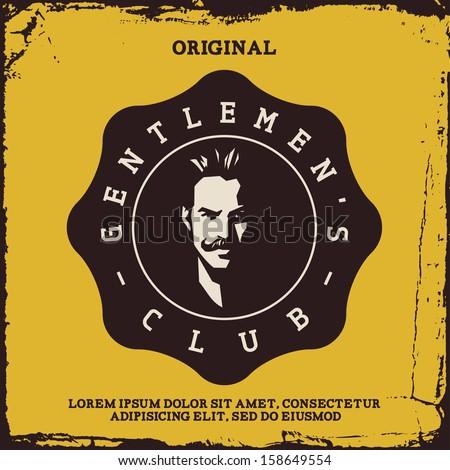vintage label with gentleman (T-Shirt Print) - stock vector