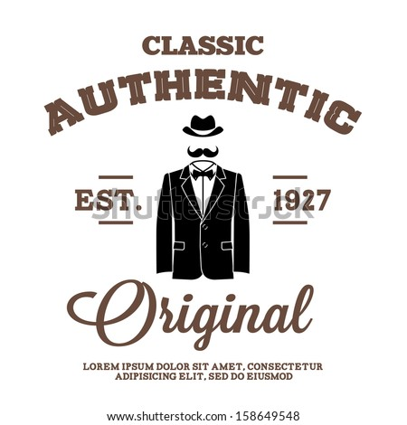 vintage label with hat suit and bow tie - stock vector