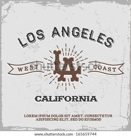 vintage label with Los Angeles monogram (T-Shirt Print) - stock vector