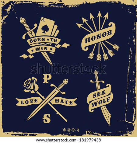 vintage label with love hate, rose, arrow ( T-Shirt Print ) - stock vector