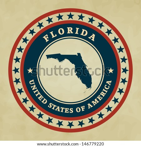 Vintage label with map of Florida, vector - stock vector