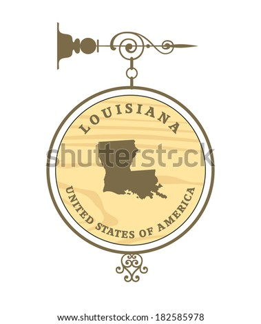 Vintage label with map of Louisiana, vector - stock vector