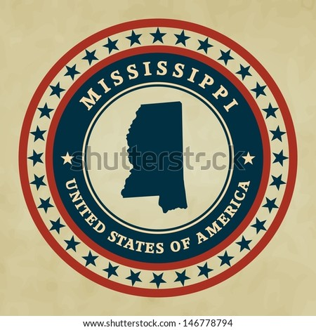 Vintage label with map of Mississippi, vector - stock vector
