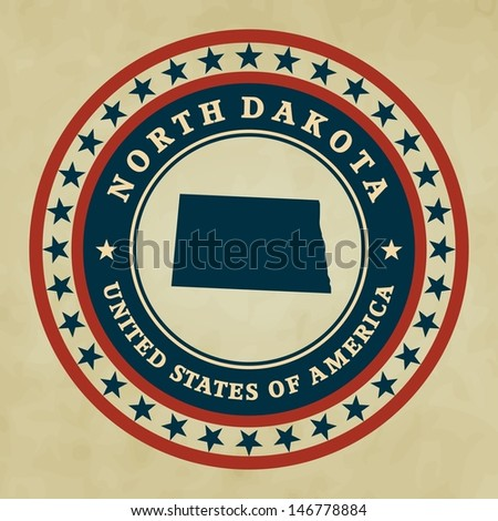Vintage label with map of North Dakota, vector - stock vector
