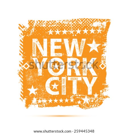 Vintage label with New York City monogram. T-Shirt Print - stock vector