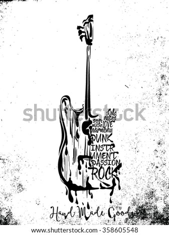 vintage label with ready to rock and guitar(T-Shirt Print) - stock vector