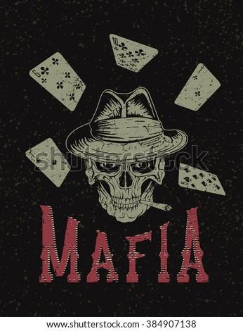 Vintage label with skull- gangster .Mafia design. Vector illustration - stock vector