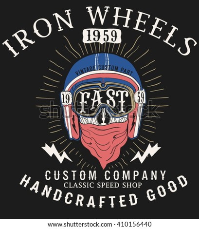 Vintage label with skull in a helmet and rays on grunge background for t-shirt print, poster, emblem. Vector illustration. - stock vector