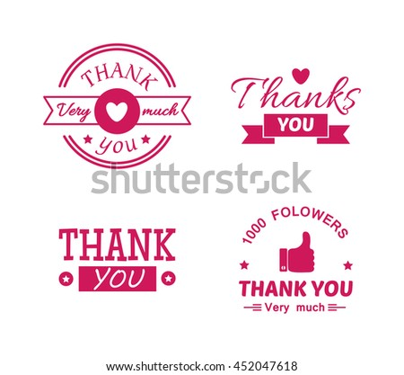 Vintage label with thank you text vector set. Thank you text design label card lettering type banner symbol. Letter typography thank you handwritten decorative calligraphic message text. - stock vector