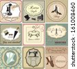 Vintage labels and invitation set - stock vector