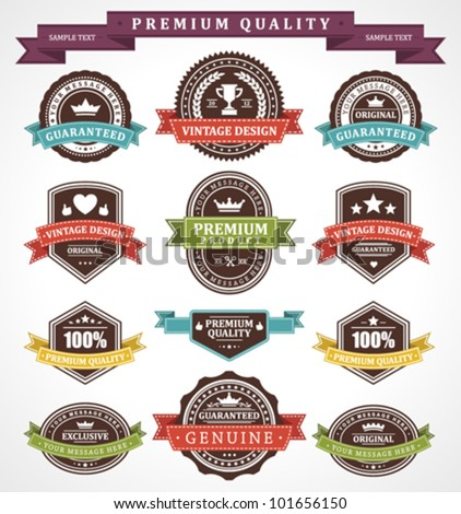Vintage labels and ribbons set. Vector design elements. - stock vector