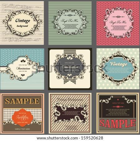 vintage labels, calligraphic design - stock vector