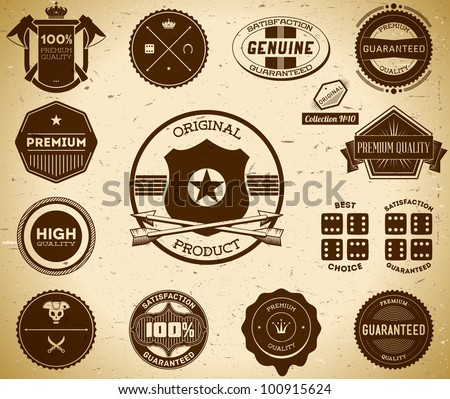 Vintage labels. Collection 10 - stock vector