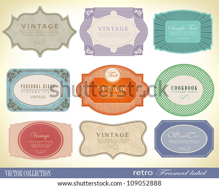 Vintage Labels Collection -  design elements with original antique style - stock vector