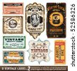 Vintage Labels Collection - 8 design elements with original antique style -Set 2 - stock vector