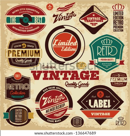 Vintage labels collection retro design elements stock for Classic house record labels