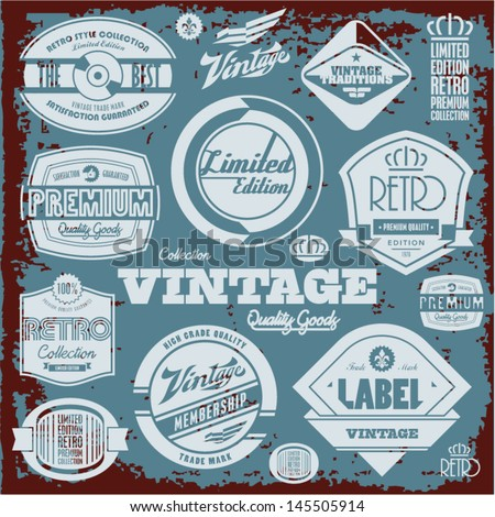 Vintage labels collection. Retro design elements.  - stock vector