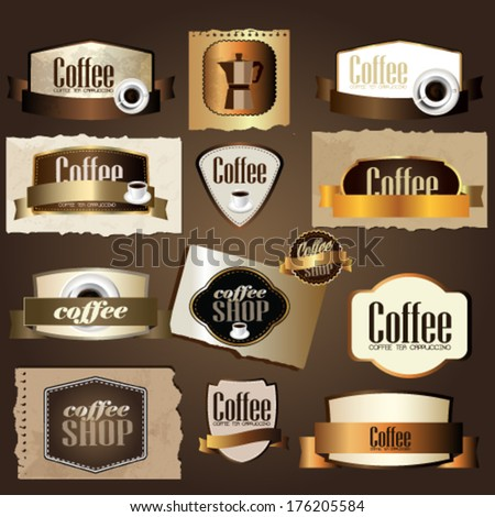 Vintage labels collection with coffee design - stock vector