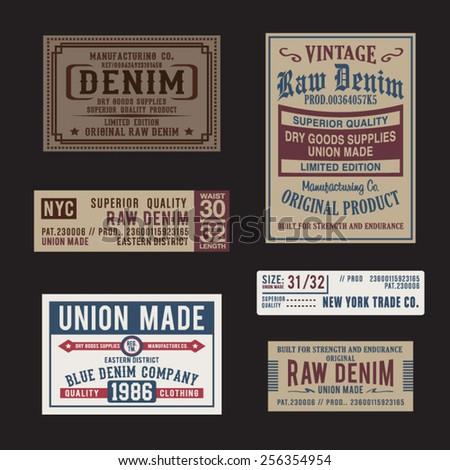 Vintage labels denim typography, t-shirt graphics, vectors - stock vector