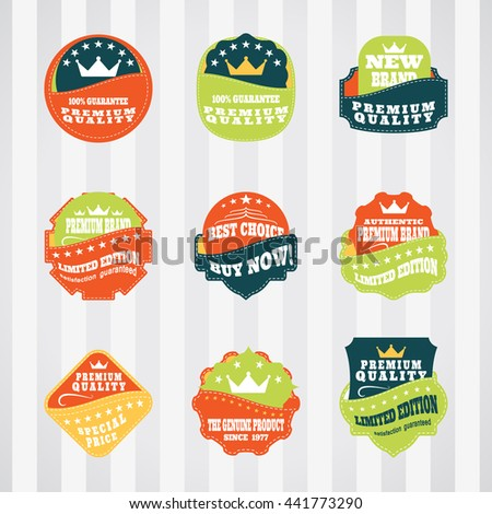 Vintage labels for commerce and premium trade with stitching in pockets vector set. Retro badges vector set for internet commerce with stitching in pockets. - stock vector