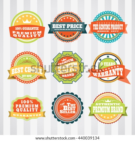Vintage labels for commerce and trade vector set. Retro badges vector set for internet commerce. Vector set of labels for promotion. - stock vector