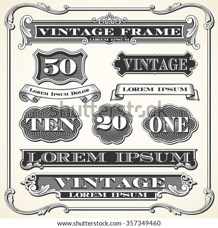 Vintage Labels, Frames and Ornaments - Set of vintage ornaments and frames.  Each object is grouped and colors are global for easy editing. - stock vector