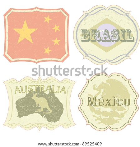 Vintage labels of China, Brazil, Australia and Mexico. All elements (including grunge) easy editable and removable. - stock vector