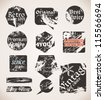 Vintage Labels. Old Paper Textures. Vector Grunge Style. - stock vector