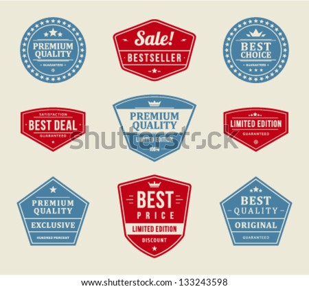 Vintage labels or badges retro style set. Vector design elements. - stock vector