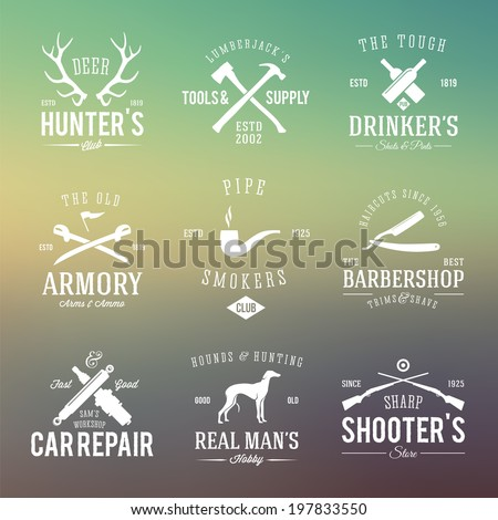 Vintage Labels or Logos With Retro Typography for Men's Hobbies Such as Hunting, Arms, Dog Breeding, Car Repair etc. on Abstract Background - stock vector