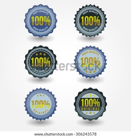 Vintage Labels 100 percent high quality template set. Retro badges for your design. Vector illustration. - stock vector