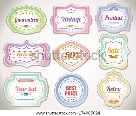Vintage labels - product stickers - Flat design - stock vector