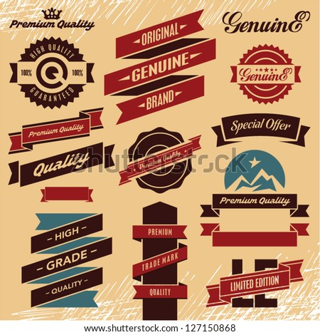 Vintage labels. Retro ribbons and labels set. - stock vector