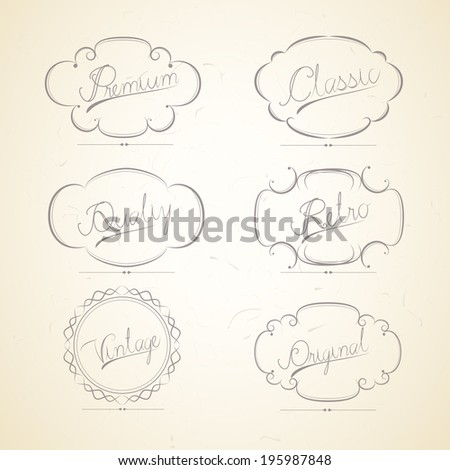 Vintage labels retro style filigree set of calligraphic elements set - stock vector