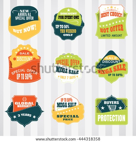 Vintage labels set for commerce and premium trade with stitching in pockets. Retro badges vector set. - stock vector