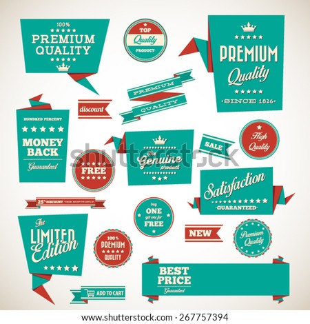 Vintage labels set - origami vintage labels set.Vector design elements - stock vector