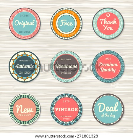 Vintage labels template set: original, premium quality, deal of the day, authentic, free, handmade, new. Retro badges for your design on wooden background. Vector illustration - stock vector