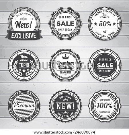 Vintage Labels template set. Retro badges for your design on wooden background. Vector illustration. - stock vector