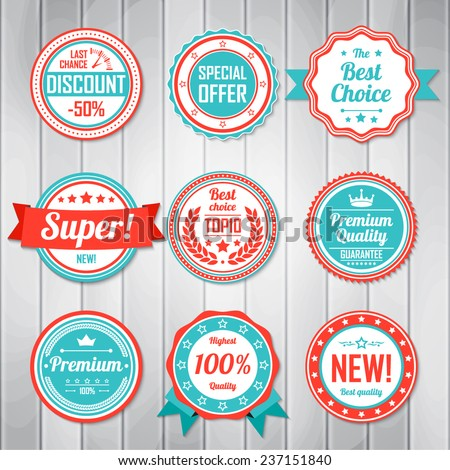 Vintage Labels template set. Retro badges for your design. Vector illustration. - stock vector
