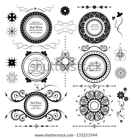 vintage labels vector set and different calligraphic design elements - stock vector