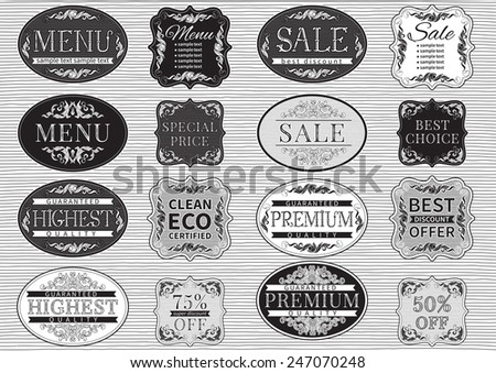 Vintage labels. Vector set  of retro  labels and vintage  border for  design. Handwritten font.  - stock vector
